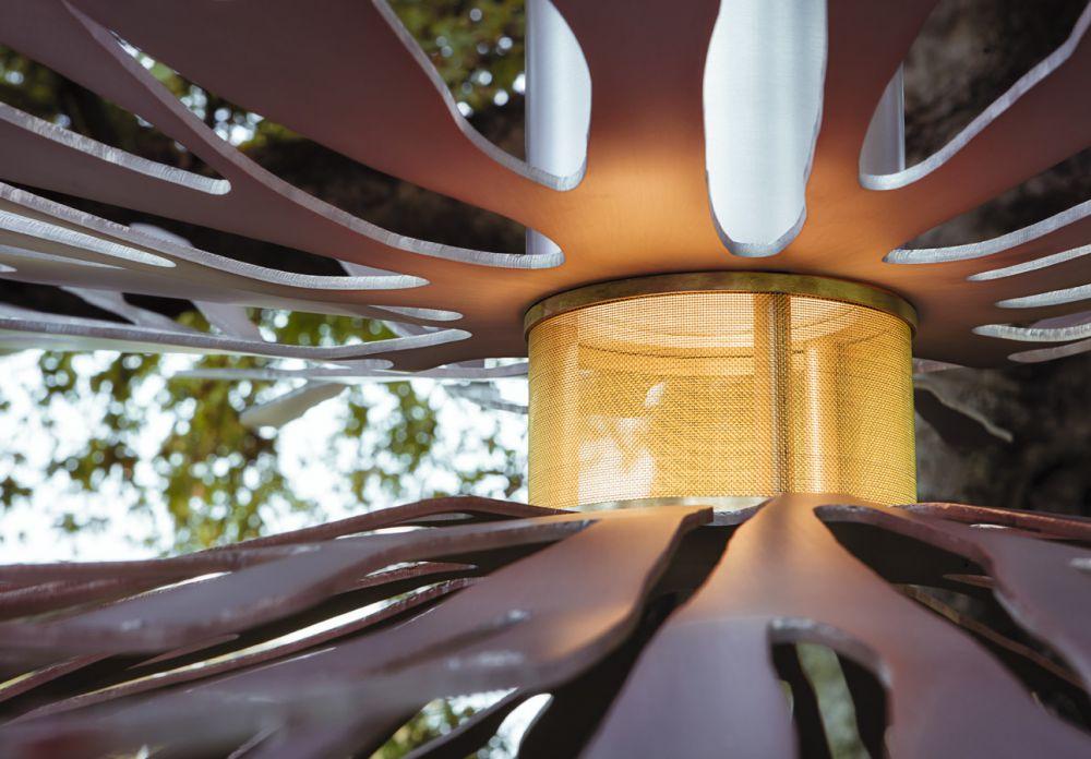 ANEMONES Sculptural air installations Detail : Satinated  Aluminium - Brass - Sunrise uncertainty finish