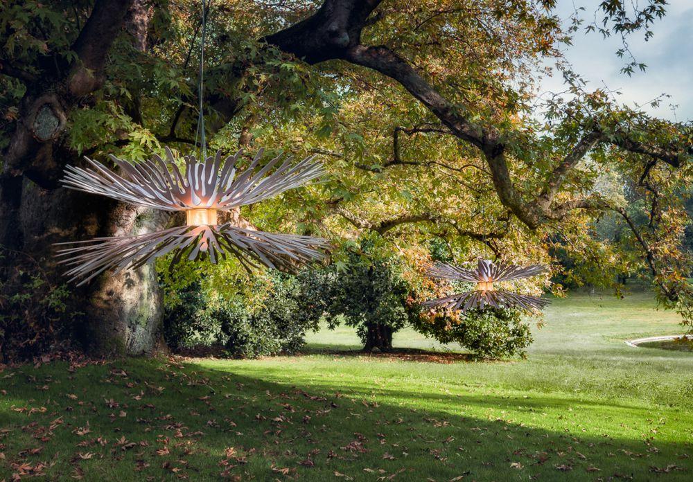 ANEMONES Sculptural air installations :Satinated  Aluminium - Brass - Sunrise uncertainty finish