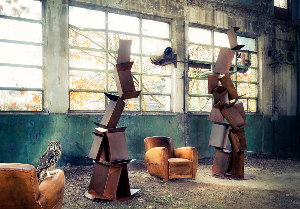 COLLAPSE Sculptural Bookcase : Iron - Rust finish