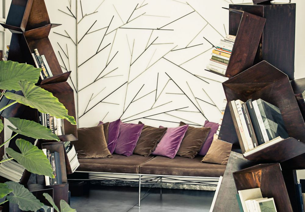 COLLAPSE Sculptural Bookcase Details  : Iron - Rust finish