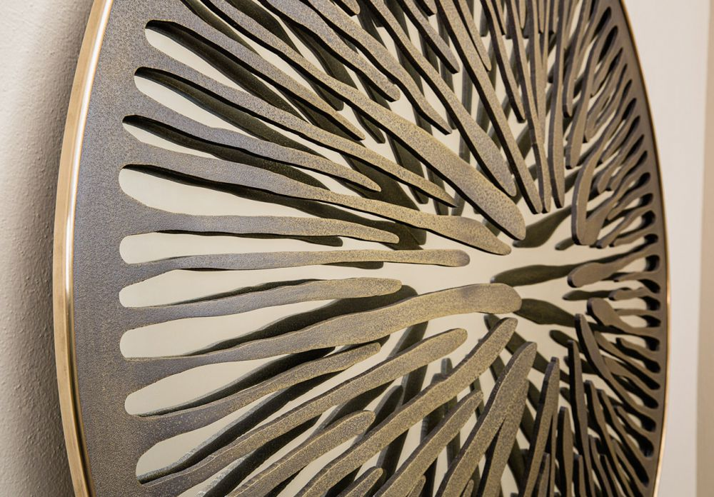 PUPIL V  Detail - Sculptural mirror : Satinated Aluminium - Liquid bronze - Brass - Bronze velvet finish