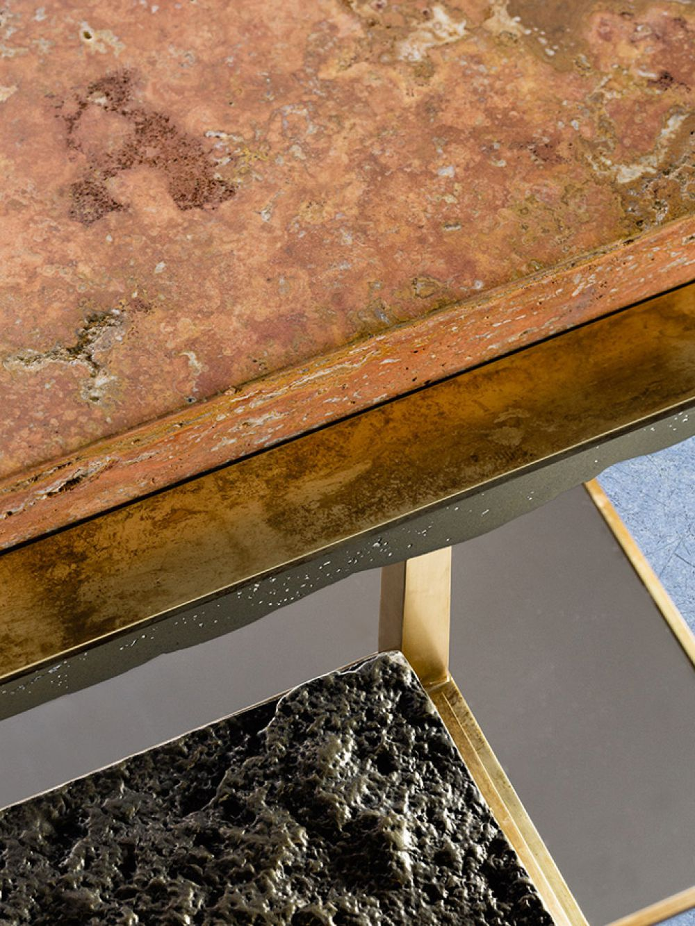 CREMINO II  DETAIL - Sculptural side table : Persian travertine - liquid brass - milled brass