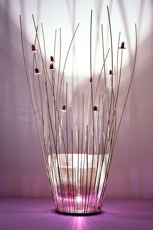 SAKI Sculptural Lighting : Stainless Steel and Amethysts