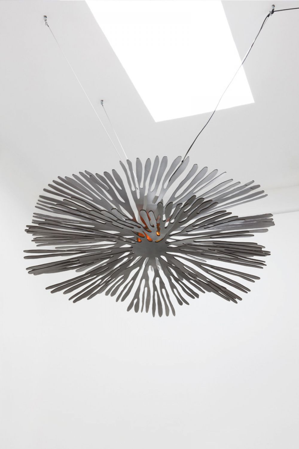 ANEMONE Stainless Steel Sculptural air installation : Stainless Steel - Brass - Satinated finish