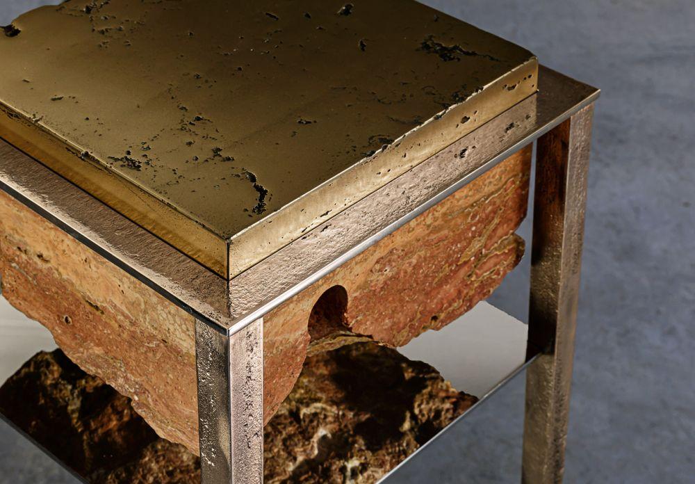 CREMINO III BRONZE DETAIL - Sculptural side table - Persian travertine - liquid bronze - cast bronze - stainless steel