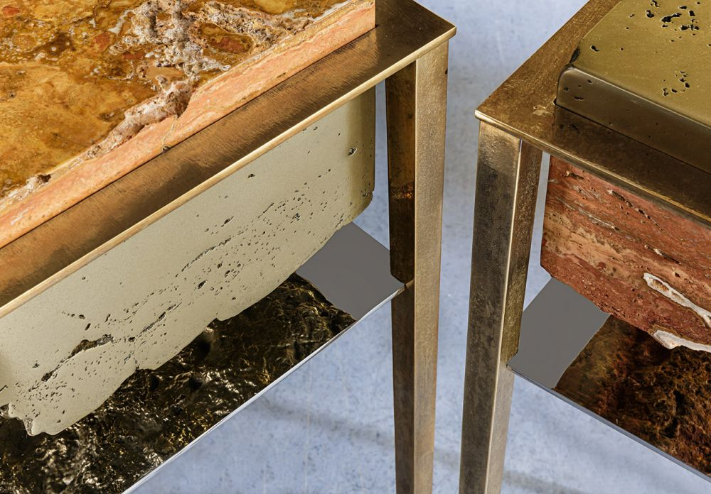 CREMINO IV and CREMINO V DETAILSCREMINO IV Brass and CREMINO V Brass  - Sculptural side tables - Persian travertine - liquid brass - cast brass - stainless steel