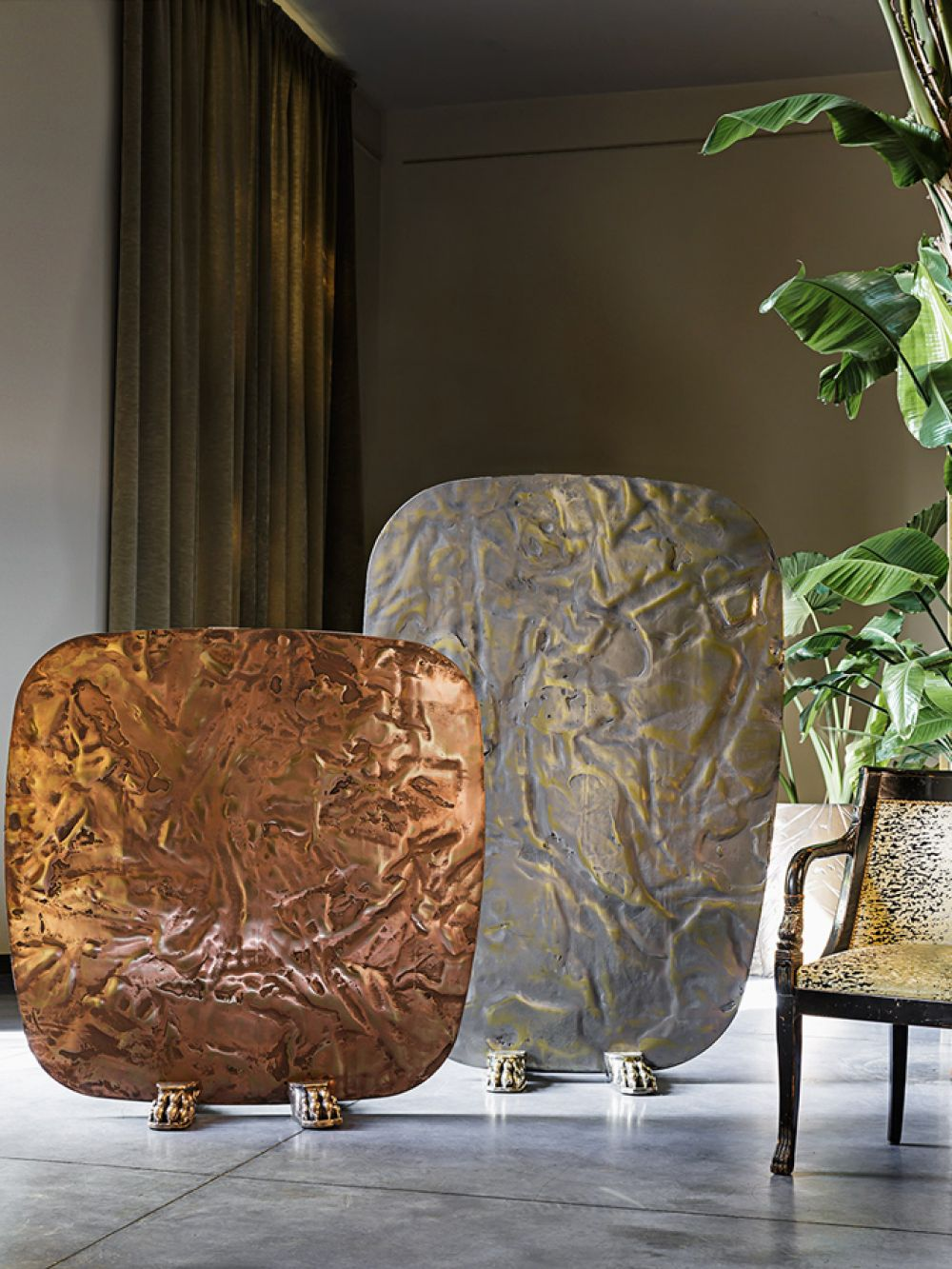 Sculptural screens Skins with cast bronze and cast brass details