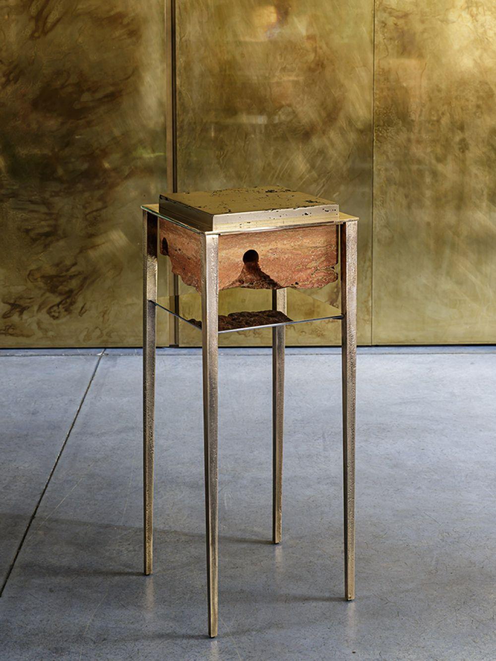 CREMINO III BRONZE - Sculptural side table - Persian travertine - liquid bronze - cast bronze - stainless steel