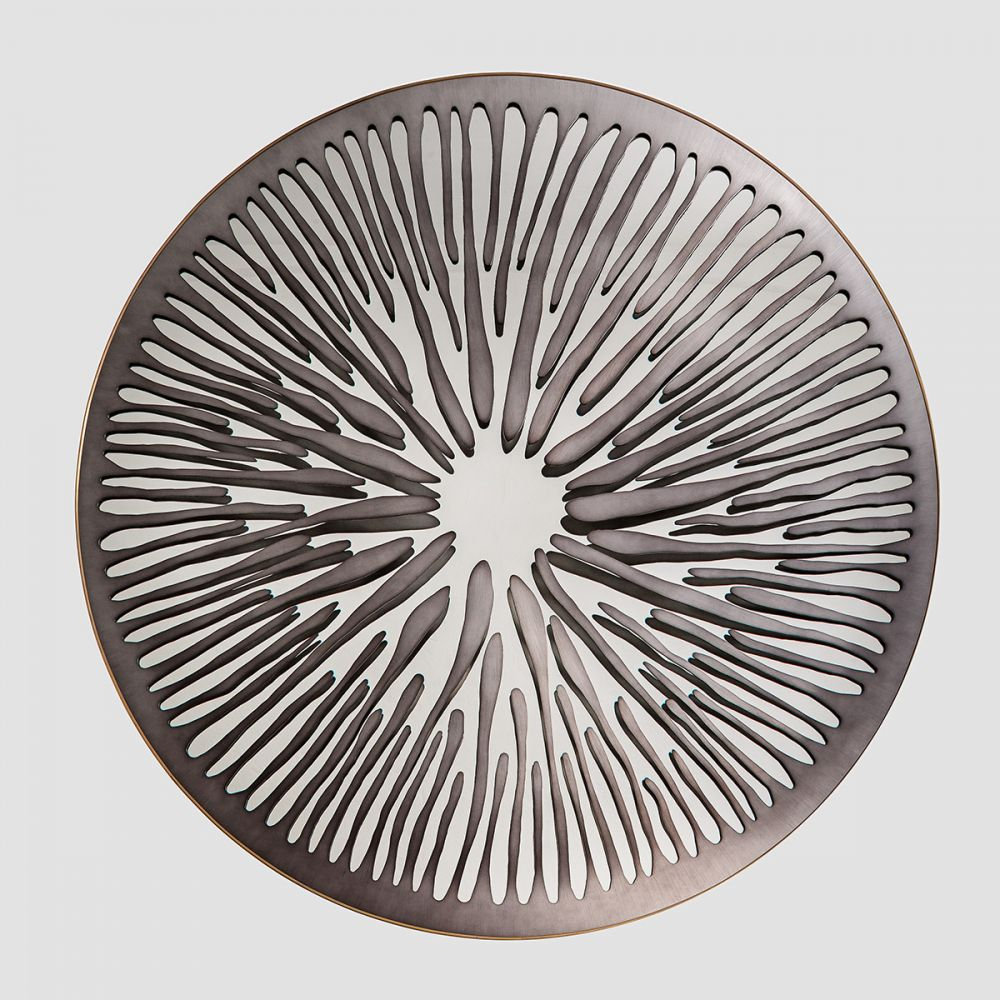 PUPIL SOFT GRAPHITE - Sculptural mirror : Satinated aluminium - brass - Surface finishing Soft Graphite