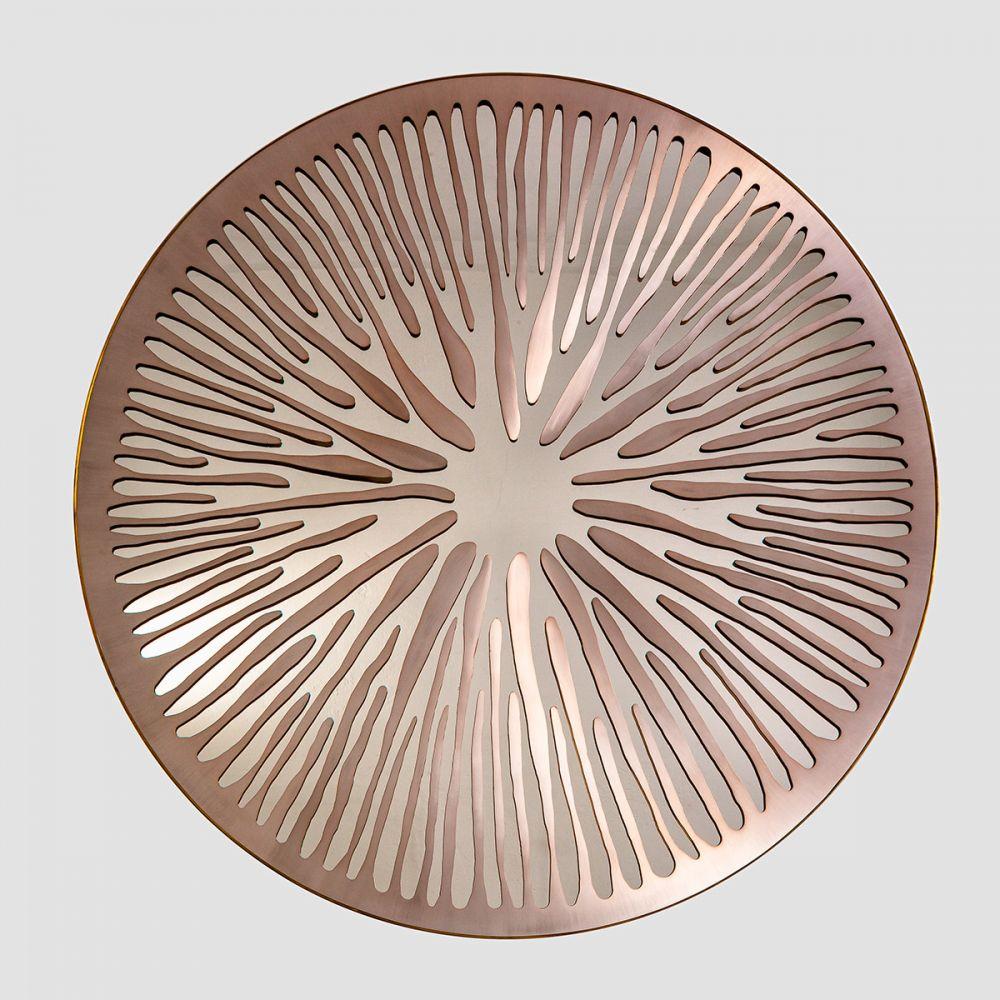 PUPIL LIGHT ROSE  - Sculptural mirror : Satinated aluminium - brass - Surface finishing Sunrise Uncertainty