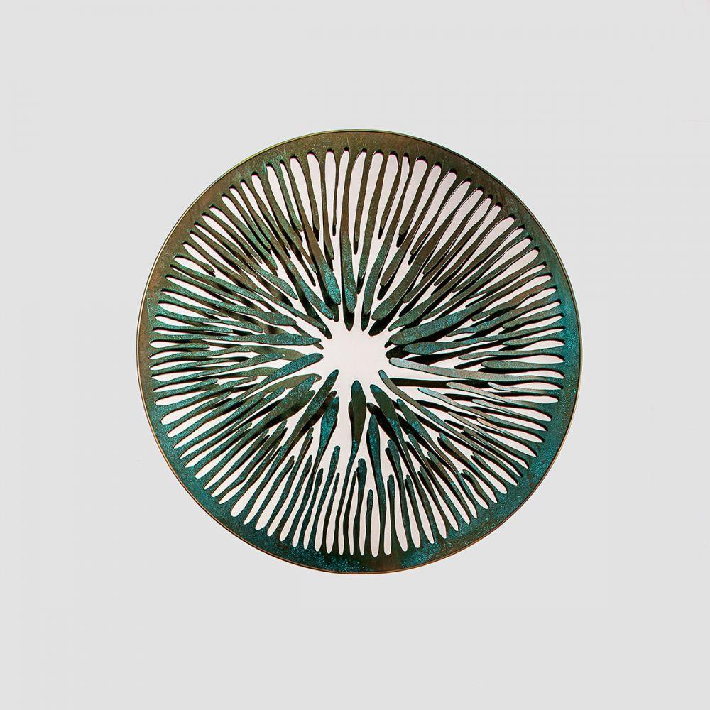 PUPIL VII - Sculptural mirror : Aluminum - Liquid copper - Brass - Dark green finish