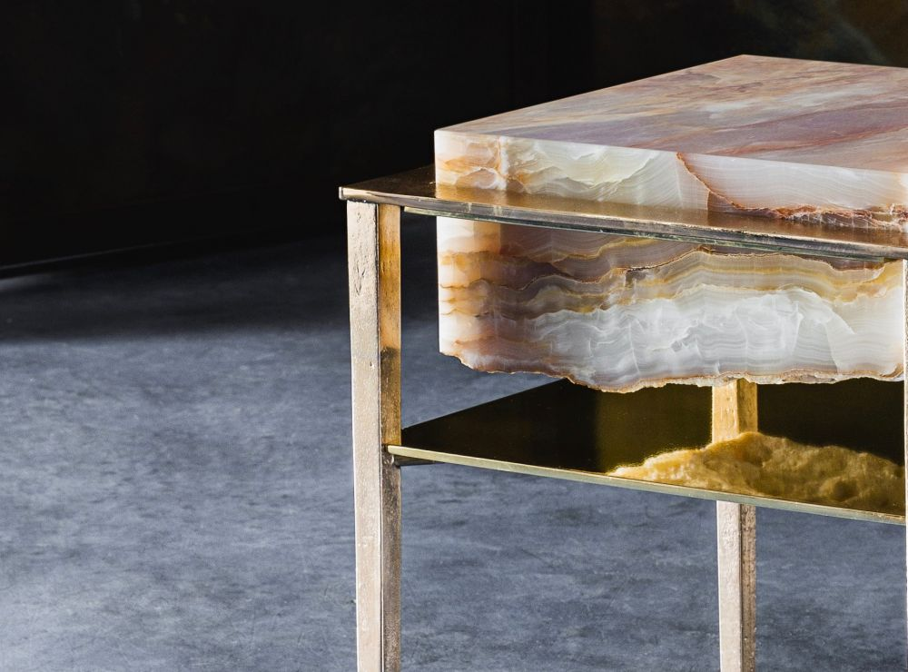 CREMINO ORANGE FLAKES ONYX - SIDE TABLE DETAILS